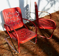 Lot of 2 Similar Vintage metal  Pie Crust lawn Garden  Chairs1 bouncer 1 fixed