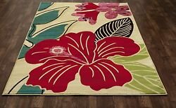 Art Carpet Antigua Hibiscus YellowRed IndoorOutdoor Area Rug