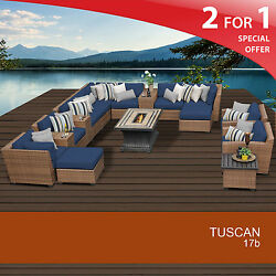 Tuscan 17 Piece Outdoor Wicker Patio Furniture Set 17b 2 for 1