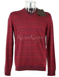 NEW WITH TAGS AUTH LOUIS VUITTON MEN STRIPED CASHMERE V NECK SWEATER M MEDIUM