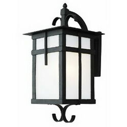 Black With White Glass Large Exterior Wall Light Fixture