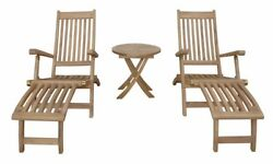 Anderson Teak Tropicana Montage 3 Piece Steamer Lounge Chair Set