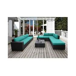 8 Piece Bali Canvas Natural Conversation Sectional Seating