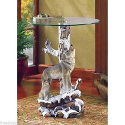 WOLF AND CUBS GLASS TOP END TABLE ACCENT FURNITURE HOME DECOR
