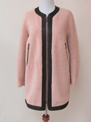 Chloe Coat Leather Trimmed Shearling Blush and Brown Size 36 New with Tags