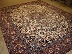 ANTIQUE PERSIAN ISFAHAN CARPET STUNNING DESIGN ON A LIGHT IVORY GROUND. C 1920.
