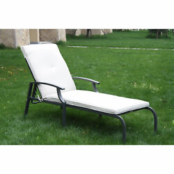 Outsunny Lounge Chair Chaise Adjustable Reclining Pool Outdoor Furniture Cushion