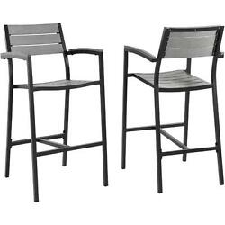EastEnd Maine Outdoor Patio Bar Stool in Brown Metal & Gray Polywood Set of 2