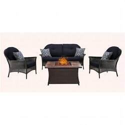 Hanover 4 Piece San Marino Fire Pit Set with Wood Grain Tile Top Navy