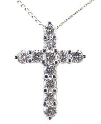 2.20 CT DIAMOND CROSS PENDANT 14 KT WHITE GOLD WITH  16 INCH CHAIN