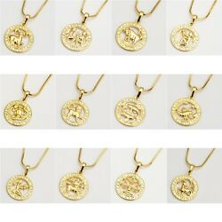 18k Yellow Gold Filled 12 Horoscope Pendant Necklace 18