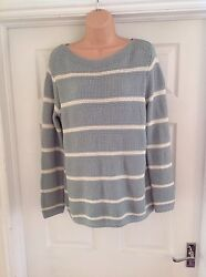 M&S Ladies Size 14 Striped Knitted Button Back Detail Jumper (BNWT)
