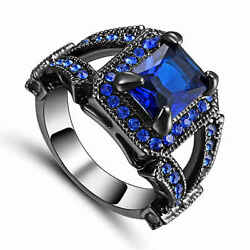 Trendy Size 7 Men#x27;s Women#x27;s Blue Sapphire Black Rhodium Plated Engagement Ring $1.21