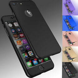 For iPhone 8 6S 7 Plus 12 Pro Max Ultra Thin Slim Hard Case CoverTempered Glass $6.58
