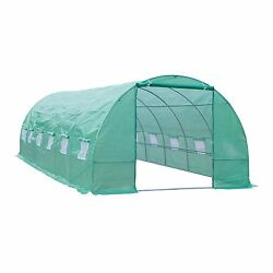 Outsunny 26' x 10' x 7' Portable Walk-In Garden Greenhouse - Deep Green
