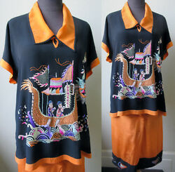 30's Vtg. Superb Hand Embroidered Silk Crepe Chinese Lounge Pajamas Tunic