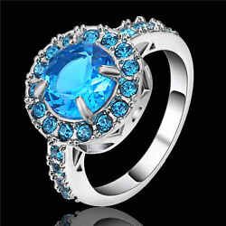 Trendy Size 8 Blue Sapphire white Rhodium Plated Womens Engagement Wedding Ring $1.04