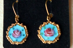 Vintage Earrings Guilloche Enamel Rose Floral Victorian Garden Party Tea #1453 $9.99