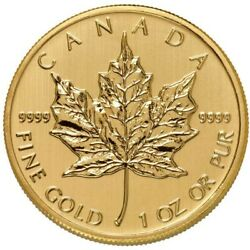 1 oz Canadian Gold Maple Leaf Coin .9999 Pure (Varied Year Condition)