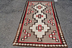 3X6ft Antique  Navajo rug blanket Native American textile cir 1920
