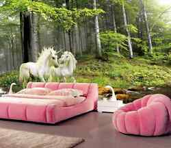 3D White Horse Lush Forest522 Wall Paper Wall Print Decal Wall Deco AJ WALLPAPER