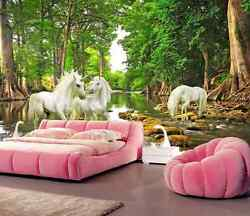 3D Horse Stream Lush Forest  Wall Paper Wall Print Decal Wall Deco AJ WALLPAPER