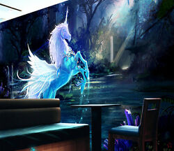 3D Ice Wings Horse Forest Wall Paper Wall Print Decal Wall Deco AJ WALLPAPER