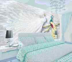 3D Color and white peacock 48 Wall Paper Wall Print Decal Wall Deco AJ WALLPAPER