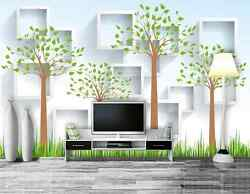 3D White Squares Green Trees 32 Wall Paper Wall Print Decal Wall AJ Wall Paper