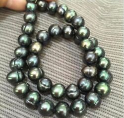 Charming Genuine 9 10mm baroque South sea Black green Pearl Necklace 18#x27;#x27; $7.99