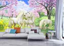 3D White horned horse flowers Wall Paper Wall Print Decal Wall DecoAJ WALLPAPER