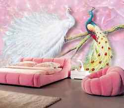 3D White and colored peacock  Wall Paper Wall Print Decal Wall Deco AJ WALLPAPER