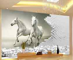 3D Two white horses 266567 Wall Paper Wall Print Decal Wall Deco AJ WALLPAPER