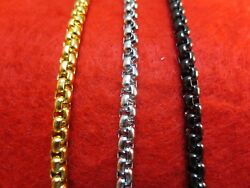 16quot; 60quot; 4MM STAINLESS STEEL GOLD SILVER BLACK SMOOTH BOX ROPE CHAIN NECKLACE $6.16
