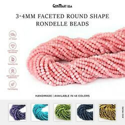 Natural Round Rondelle Beads 3-4mm Size Faceted Cut Drilled Gemstones 13
