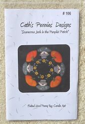 SCARECROW JACK IN PUMPKIN PATCH PATTERN WOOL FELT PENNY RUG CANDLE MAT NEW