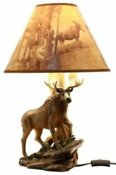 Wildlife Nature Bull Moose Grand Elk Desktop Table Lamp With Nature Shade 20quot;H $75.99