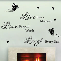 Live Love Laugh Butterfly Art Wall Quotes Stickers Bedroom Words Phrases Decals GBP 12.99