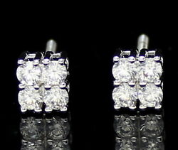 Mens Womens Small Square Studs White Gold Plated Cz Screw Back Earrings $11.99