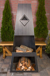 Ember Haus Ember Max Steel Wood Burning Outdoor fireplace