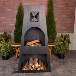 Ember Haus Fire Knight Steel Wood Burning Outdoor fireplace