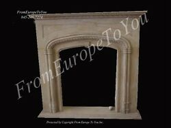 HAND CARVED MARBLE GOTHIC DESIGN FIREPLACE MANTEL SS1