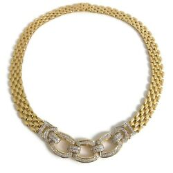 Vintage Diamond Wide Chain Link Necklace 14K Yellow Gold 2.01 CTW 61.67 Grams