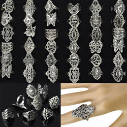 US 50Pcs Wholesale Bulk Jewelry Lots Mixed Style Tibet Silver Vintage Band Rings
