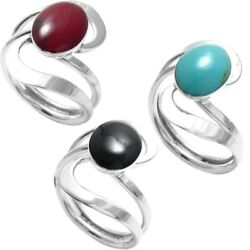 925 Sterling Silver Oval Turquoise Onyx or Red Jasper Swirl Ring