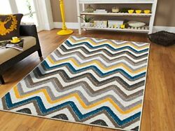Durable & Stylish ZigZag Design Large Area Rug for Indoor Outdoor Carpet 8'x11'