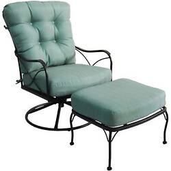 Oversized Patio Swivel Chair with Ottoman Outdoor Furniture Deck Lawn Garden