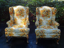 PAIR VTG ETHAN ALLEN FIRESIDE HIGH BACK WING CHAIRS QUEEN ANNE CABRIOLET LEGS
