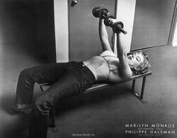 Actress MARILYN MONROE POSTER Lifting Weights Halsman Portrait GALLERY QUALITY