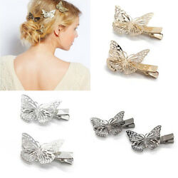 2pcs GoldSilverBlack Butterfly Hair Clip Fashion Women Girls Hairpin Barrette $3.22
